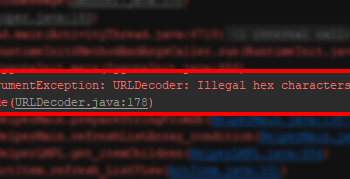 遇到Exception: URLDecoder: Illegal hex characters in escape (%) pattern